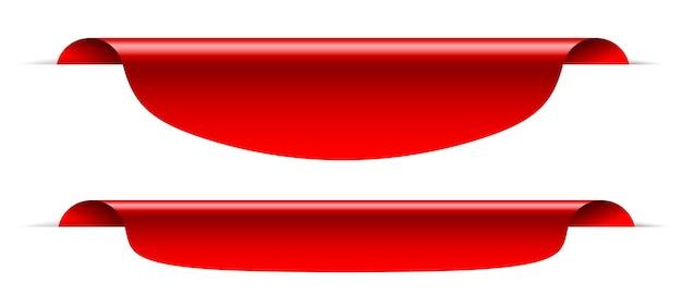 Projeto de bandeira de fita vermelha de marca de venda em branco.