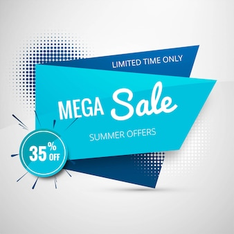 Projeto de bandeira de modelo de venda mega Vetor Premium