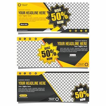 Projeto de bandeira de negócio amarelo e preto