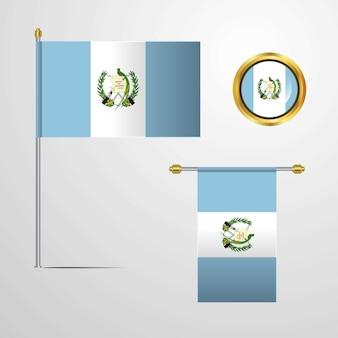 Projeto de bandeira de ondulação de guatemala com vetor de crachá