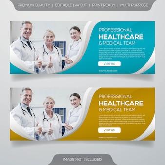 Projeto de bandeira de saúde e equipe médica