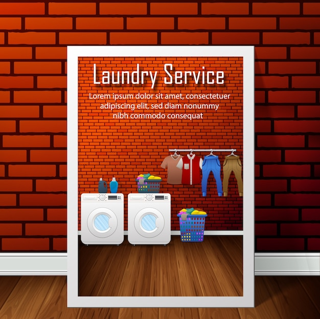Projeto de bandeira de serviço de lavanderia no fundo da parede de tijolo