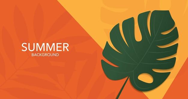 Projeto de bandeira de verão monstera folhas em fundo de parede amarelo laranja e verde