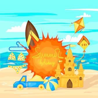 Projeto de bandeira de vetor de horário de verão para texto e elementos coloridos de praia