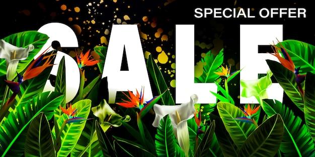 Projeto de bandeira de vetor de venda de verão com folhas de palmeira tropical, plantas