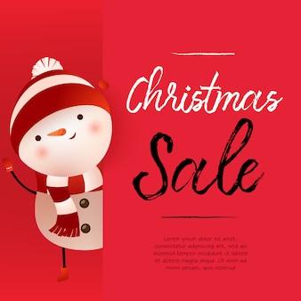 Projeto de bandeira vermelha de venda de natal com boneco de neve bonito e texto de exemplo