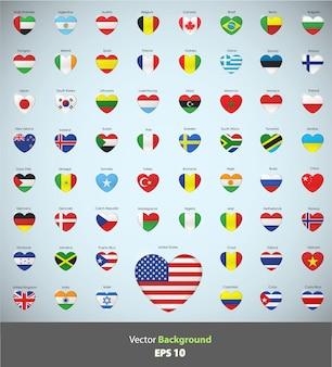 Projeto de bandeiras de coleção de coração