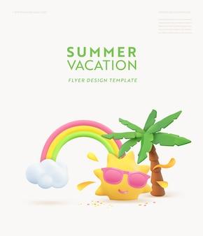 Projeto de banner 3d de verão. palmeira tropical de cena de renderização realista, sol, arco-íris, nuvem. objetos de praia tropical, poster da web de férias, folheto, brochura sazonal, capa. fundo moderno de verão