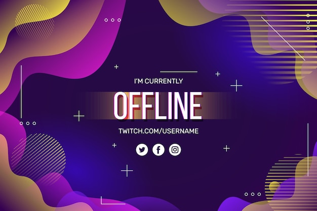 Projeto de banner abstrato twitch offline