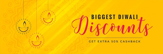 Projeto de banner amarelo desconto diwali