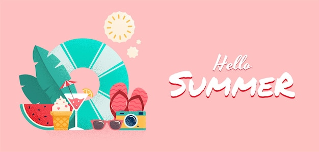 Projeto de banner colorido de horário de verão. ilustração vetorial.
