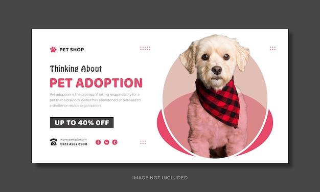 Projeto de banner da web de adoção de animais de estimação e modelo de miniatura do youtube de cuidados com animais de estimação.