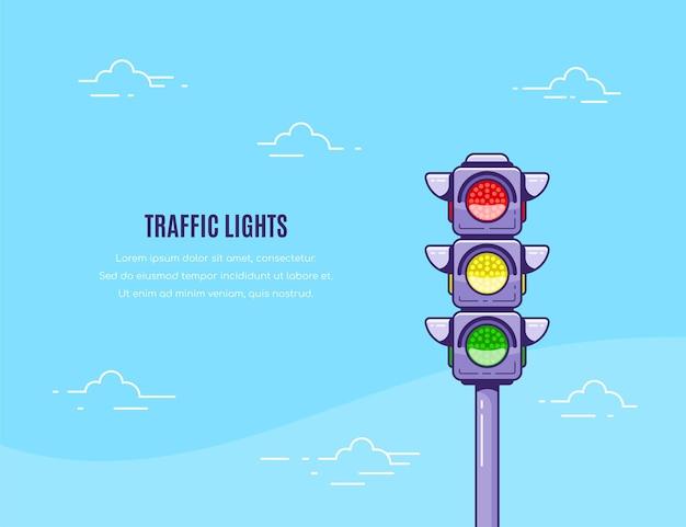 Projeto de banner de conceito com ícone de semáforo e ilustração de modelo de texto