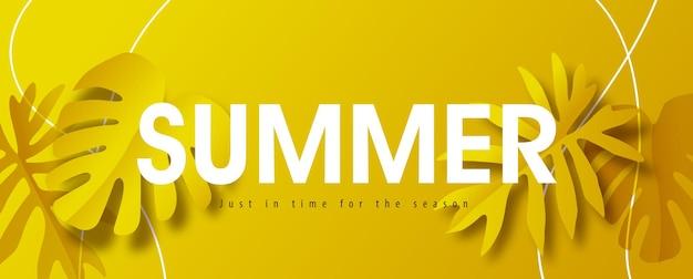 Projeto de banner de layout de fundo amarelo de verão com folhas tropicais