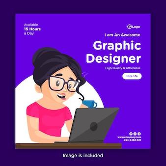 Projeto de banner de mídia social com uma garota designer gráfica trabalhando em um laptop e segurando uma xícara de chá na mão