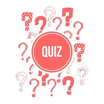 Projeto de banner de questionário com mão-de-rosa desenhada pontos de interrogação