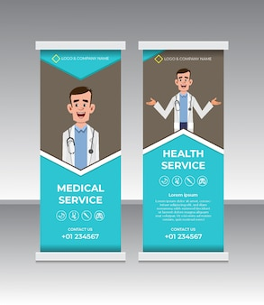 Projeto de banner de rollup médico e de saúde