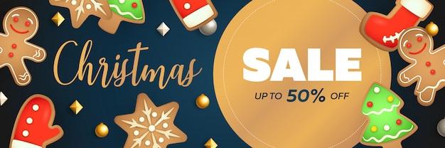 Projeto de banner de venda de natal com rótulo circular
