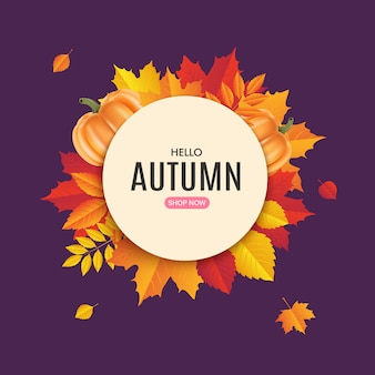 Projeto de banner de venda de outono. modelo de etiqueta de venda outono. crachá promocional