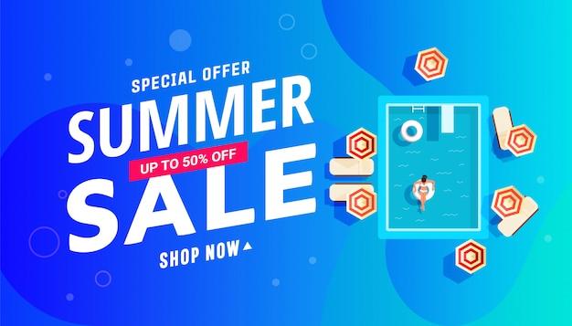 Projeto de banner de venda de verão com piscina com meninas, espreguiçadeiras e guarda-sóis.