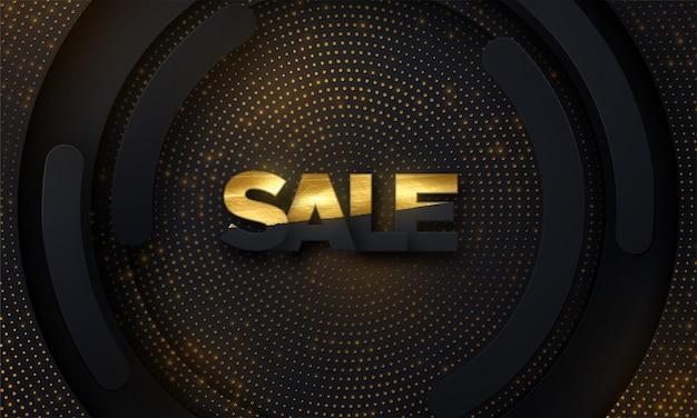 Projeto de banner de venda. ilustração do rótulo de venda preto e dourado sobre fundo preto de papel em camadas com brilhos cintilantes.