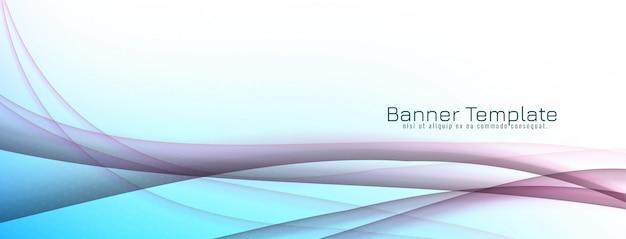 Projeto de banner decorativo abstrato onda azul