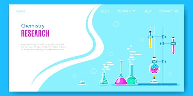 Projeto de banner do conceito de química com equipamento de laboratório