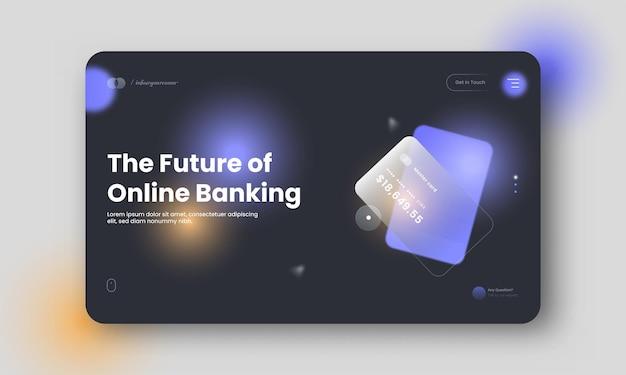 Projeto de banner do futuro herói de banco on-line com ilustração de cartão de pagamento.