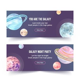 Projeto de banner galáxia com ilustração em aquarela de planetas.