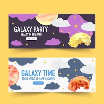 Projeto de banner galáxia com nuvens, lua, ilustração em aquarela de sol.