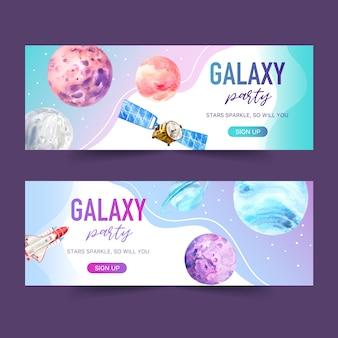 Projeto de banner galáxia com satélite, foguete, ilustração em aquarela planeta.