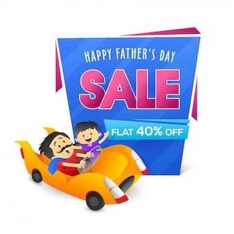 Projeto de banner ou cartaz de venda para o dia dos pais, filho e pai duo apreciando o passeio de carro.