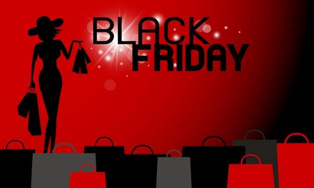 Projeto de banner preto sexta-feira da mulher segurando o saco de compras