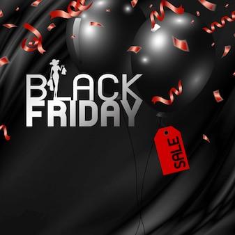 Projeto de banner preto sexta-feira de balões com tag e fita vermelha