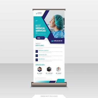 Projeto de banner roll up de saúde e médicos