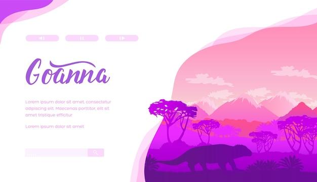 Projeto de banner web de exposição de répteis de museu zoológico. silhueta de animal selvagem australiana.