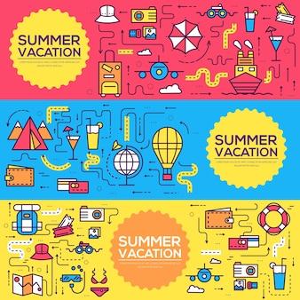 Projeto de banners de itens de ícones de infográfico de viagens de verão