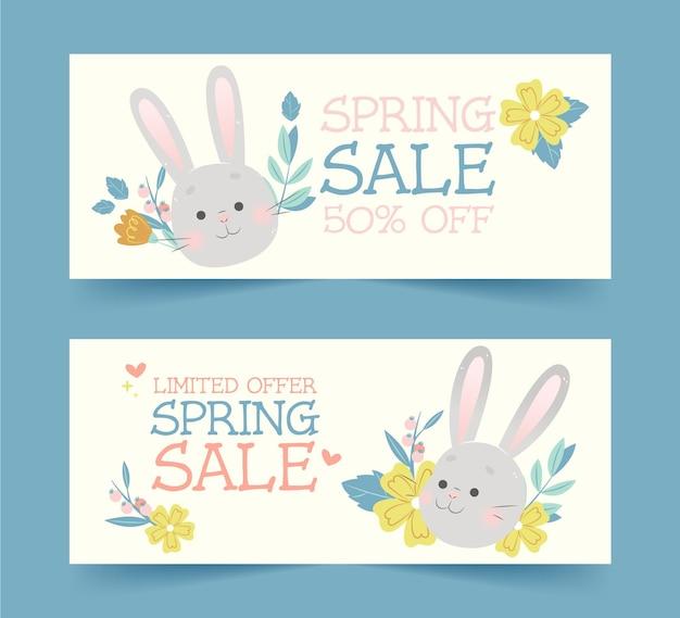 Projeto de banners desenhados à mão para venda de primavera