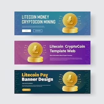 Projeto de banners horizontais com litecoin de criptomoeda moeda de ouro.