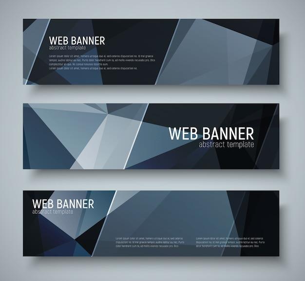 Projeto de banners horizontais com textura poligonal preta abstrata. listras diagonais transparentes do modelo. conjunto
