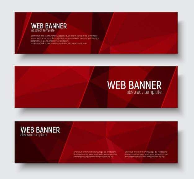 Projeto de banners horizontais com textura poligonal vermelha abstrata. listras diagonais transparentes do modelo. conjunto