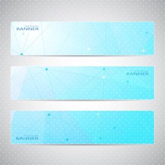 Projeto de banners horizontais de coleção. molécula e fundo de comunicação.