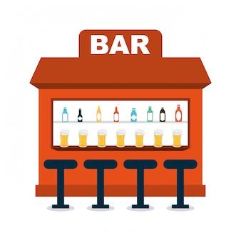 Projeto de bar sobre ilustração vetorial de fundo branco