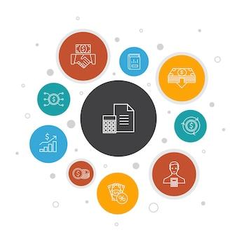 Projeto de bolha de 10 etapas de infográfico de contabilidade. conjunto, relatório anual, receita líquida, ícones simples de contador