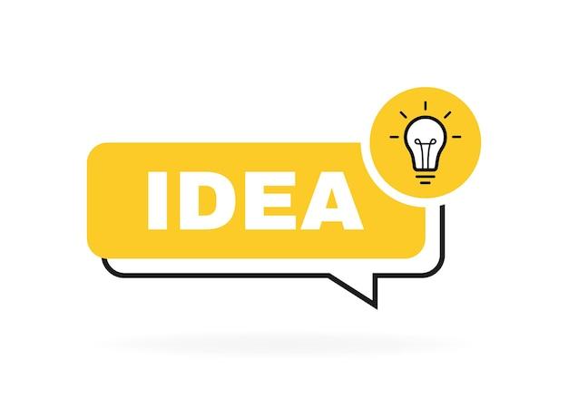 Projeto de bolha de mensagem de ideia com lâmpada e raios.