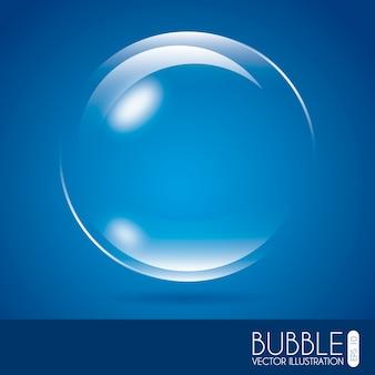 Projeto de bolha sobre ilustração vetorial de fundo azul