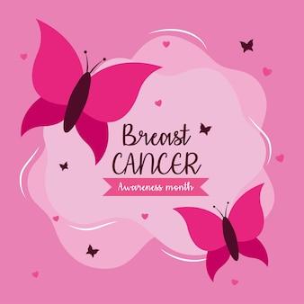 Projeto de borboletas cor de rosa de conscientização do câncer de mama, tema da campanha.