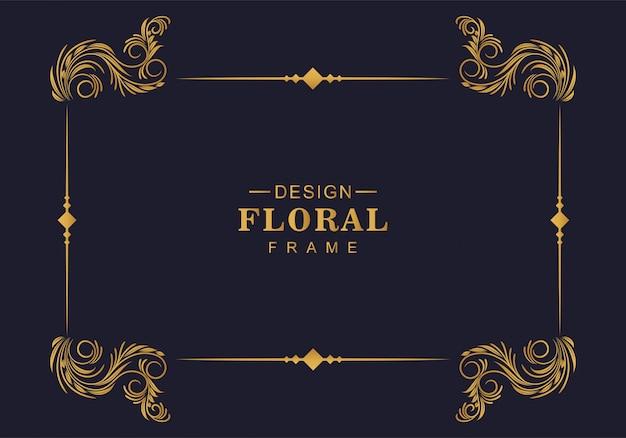 Projeto de borda de decoração de moldura floral ornamental