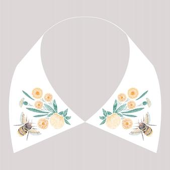 Projeto de bordado de ponto cetim com flores amarelas e abelha. linha folclórica padrão na moda floral para a gola do vestido. ornamento de moda natural para o pescoço em fundo branco.