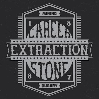 Projeto de branding vintage com composição de letras em fundo escuro.